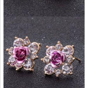 Jewelry - Brand New Purple Rose Crystal Rhinestone Earrings